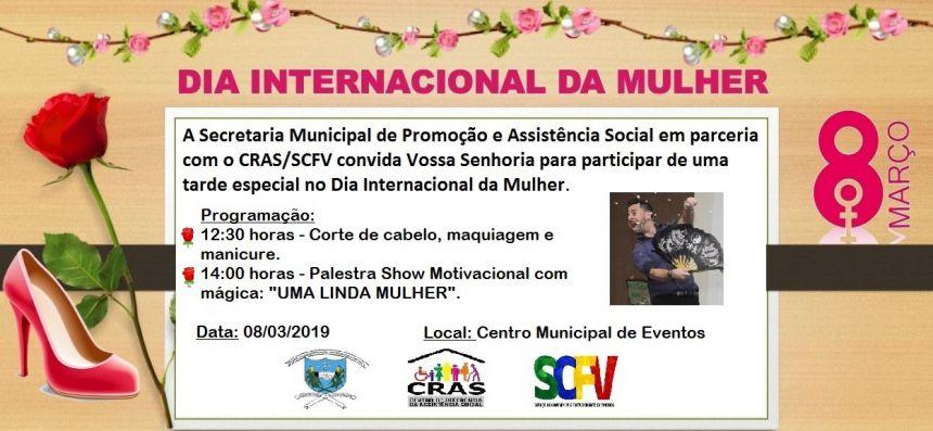 ASSISTÊNCIA SOCIAL PROMOVERÁ EVENTO DO DIA INTERNACIONAL DA MULHER
