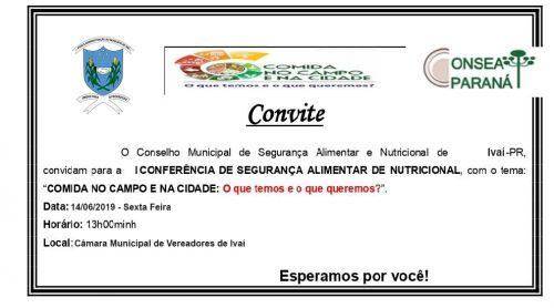 Convocação|  I CONFERÊNCIA MUNICIPAL DE SEGURANÇA ALIMENTAR E NUTRICIONAL