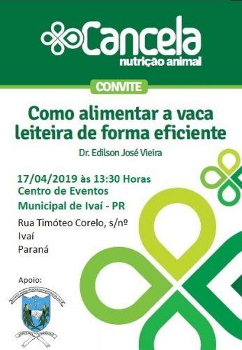 Convite palestra: Como alimentar a vaca leiteira de forma eficiente