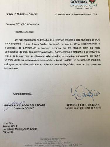 SECRETARIA DE SAÚDE RECEBE MENÇÃO HONROSA