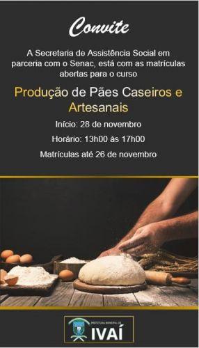 Curso Produção de Pães Caseiros e Artesanais