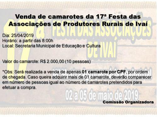 ESTÁ CHEGANDO A 17ª FESTA DAS ASSOCIAÇÕES DE PRODUTORES RURAIS DE IVAI