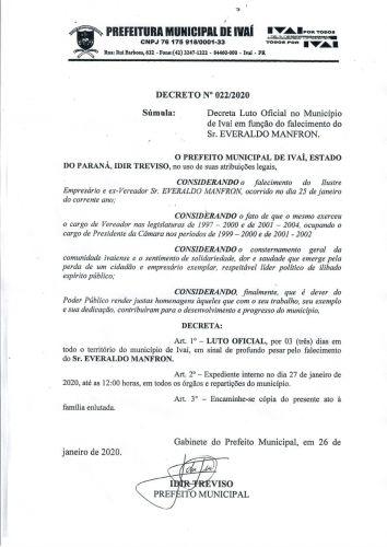 MUNICÍPIO DECLARA LUTO OFICIAL - FALECIMENTO DO SR. EVERALDO MANFRON