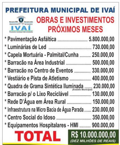 Obras e investimentos para os próximos meses