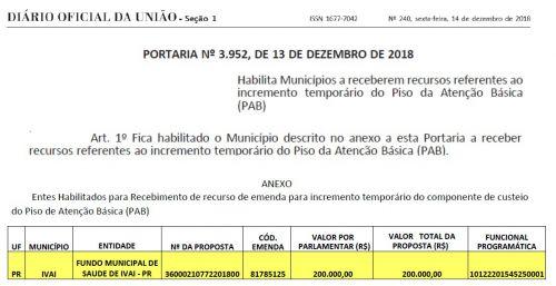 MAIS R$ 200.000,00 PARA A SAÚDE DE IVAÍ