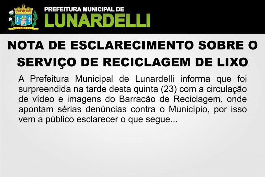 NOTA DE ESCLARECIMENTO SOBRE O SERVIÇO DE RECICLAGEM DE LIXO