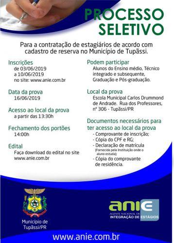 Prefeitura de Tupãssi abre inscrições para contratação de estagiários