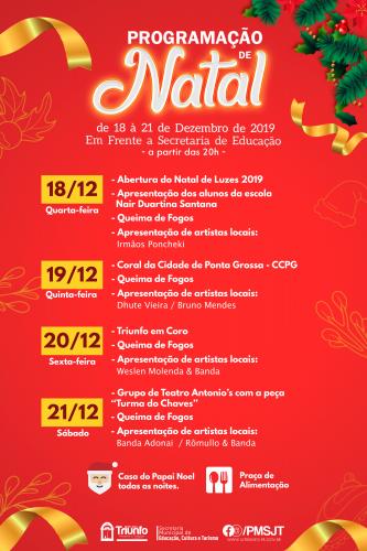 Confira a Programação completa do Natal Luz 2019 em São João do Triunfo