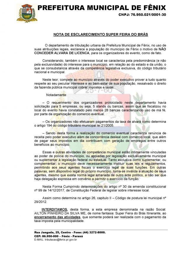 NOTA DE ESCLARECIMENTO SUPER FEIRA DO BRÁS