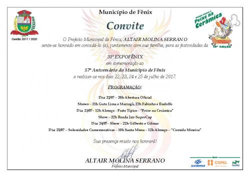 Convite 31ª Expo-Fênix