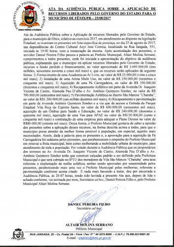 Ata Audiência Pública realizada dia 25/08/2017