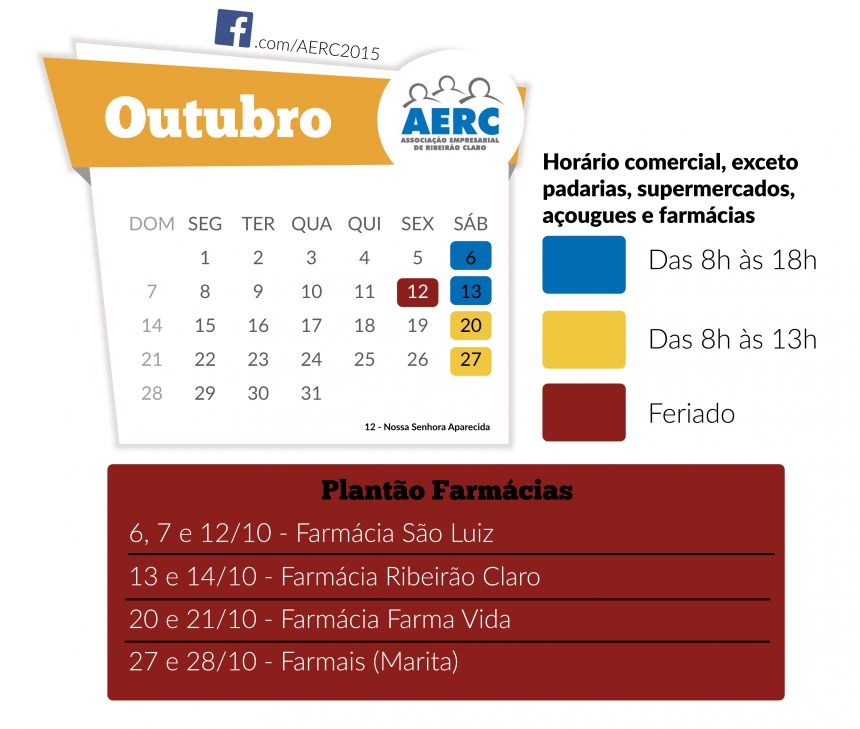 Calendário AERC mês de outubro