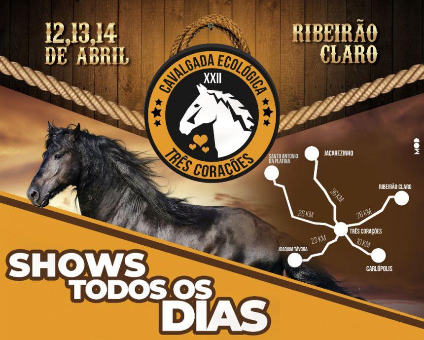 Cavalgada Ecológica dos Três Corações - de 12 a 14 de abril
