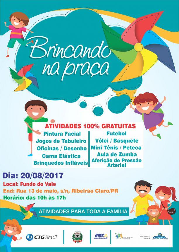 Ribeirão Claro receberá Projeto Brincando na Praça
