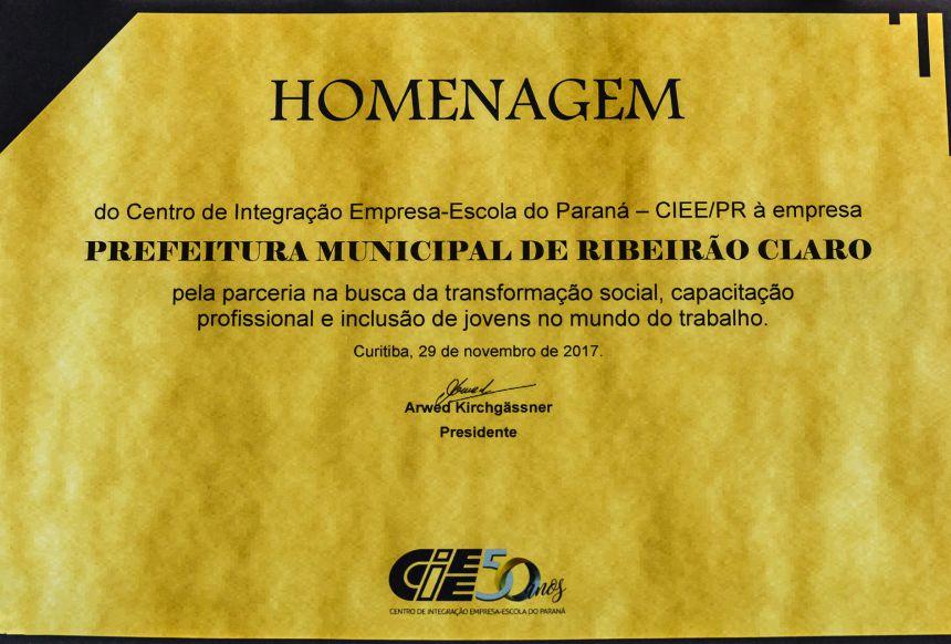 Prefeitura recebe homenagem do Centro de Integração Empresa-Escola