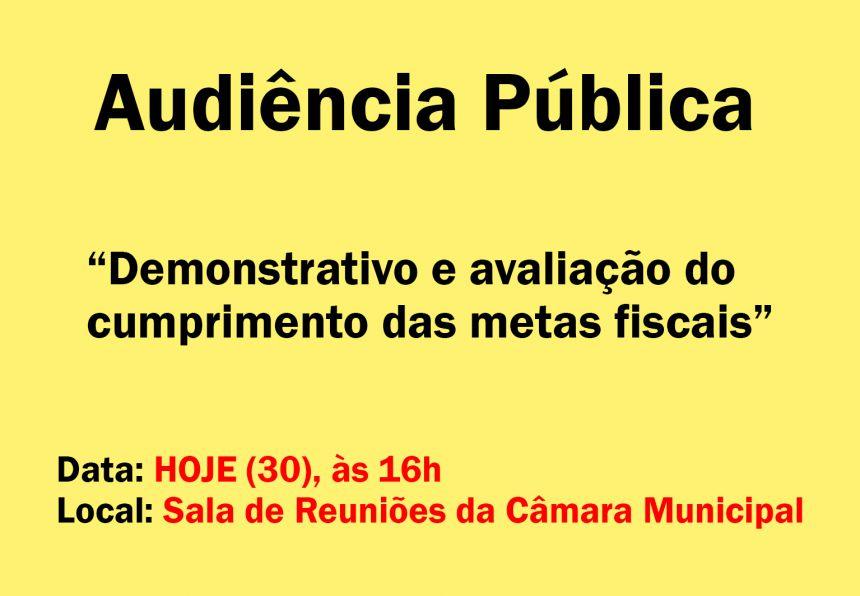 Audiência Pública - Demonstrativo e avaliação do cumprimento das metas fiscais