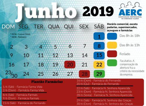 Calendário da AERC para o mês de junho!