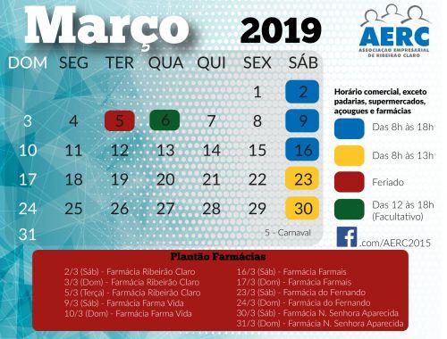 Calendário AERC - MARÇO