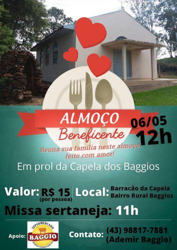 Participe com sua família e amigos e ajude a Capela do bairro rural Baggios!
