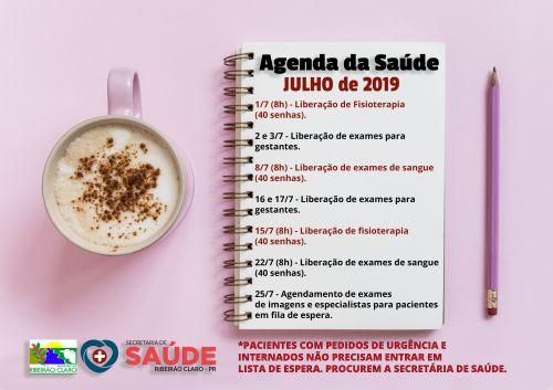 Calendário da Secretaria de Saúde para o mês de JULHO!