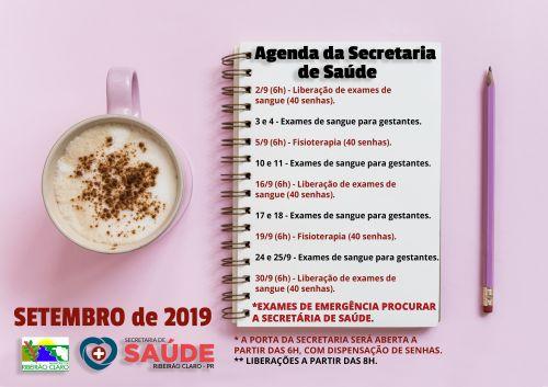 AGENDA DA SAÚDE PARA O MÊS DE SETEMBRO!!!