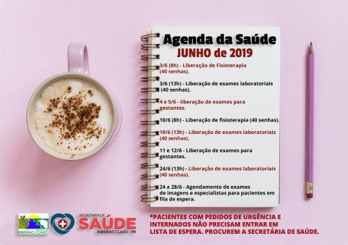 Agenda da Secretaria de Saúde para o mês de JUNHO!