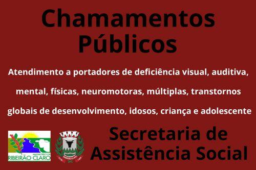 Editais de Chamamentos Públicos nºs 1, 2, 3 e 4/2019 - Assistência Social