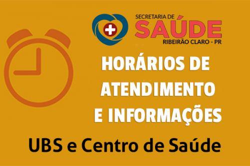 Horários de atendimento e informações da Secretaria de Saúde