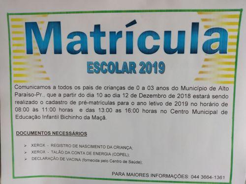 MATRÍCULAS ABERTAS - Centro Municipal de Educação Infantil Bichinho da Maçã.