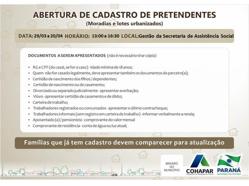 Abertura de Cadastro para PRETENDENTES a moradias e lotes urbanizados