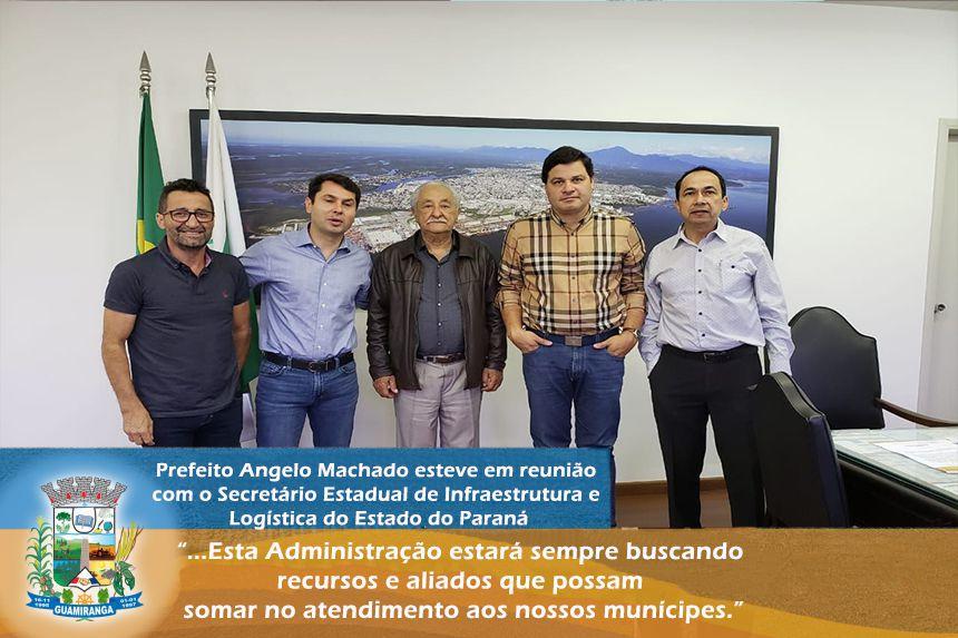 Prefeito Angelo Machado esteve em reunião com o Secretário Estadual de Infraestrutura e Logística do Estado do Paraná
