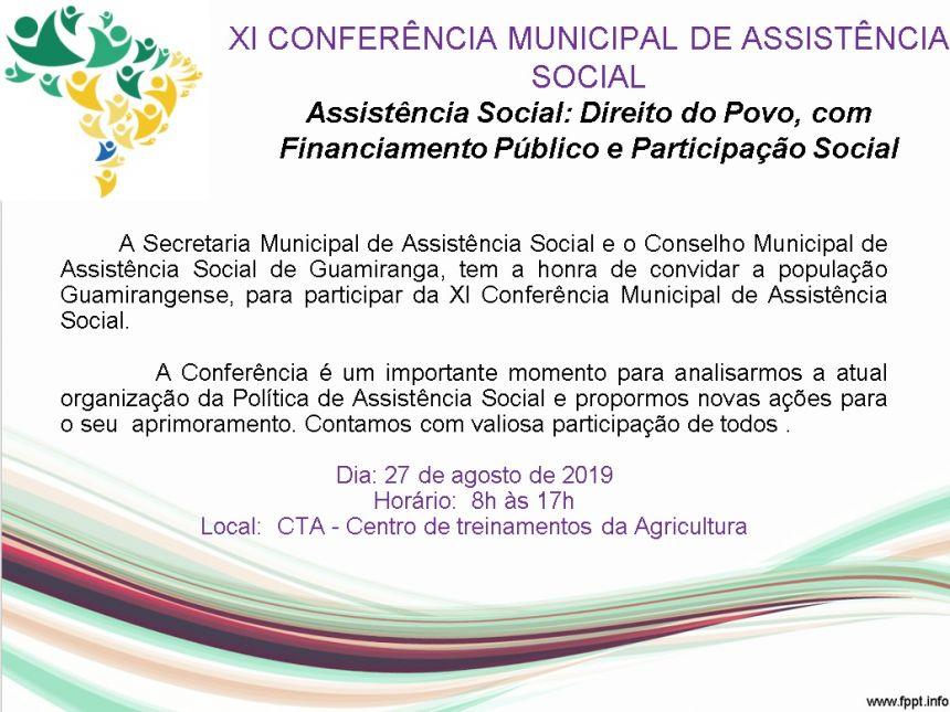 XI CONFERÊNCIA MUNICIPAL DE ASSISTÊNCIA SOCIAL.