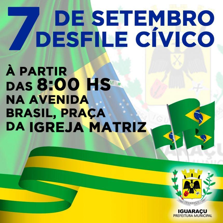 7 de Setembro a partir das 8 horas da manhã haverá o desfile cívico da independência