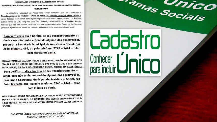 RECADASTRAMENTO DO CADASTRO ÚNICO PARA PROGRAMAS SOCIAIS DO GOVERNO FEDERAL