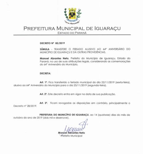 Prefeito Nelinho transfere feriado alusivo aos 64 anos de Iguaraçu
