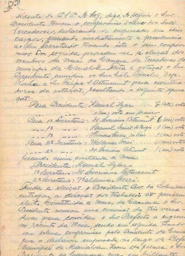 Ata da Solenidade de posse do primeiro prefeito  e Vereadores eleitos, 1952 parte 02 (Acervo Câmara Municipal de Marialva)