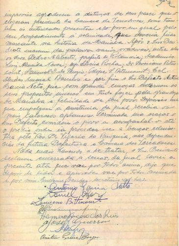 Ata da Solenidade de posse do primeiro prefeito e Vereadores eleitos, 1952  parte 03 (Acervo Câmara Municipal de Marialva