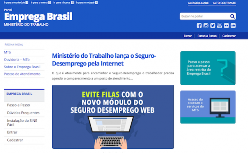 Portal Emprega Brasil oferece diversos serviços digitais do Ministério do Trabalho, como CTPS e Seguro