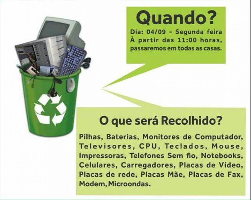Prefeitura vai realizar coleta de lixo eletrônico na segunda-feira