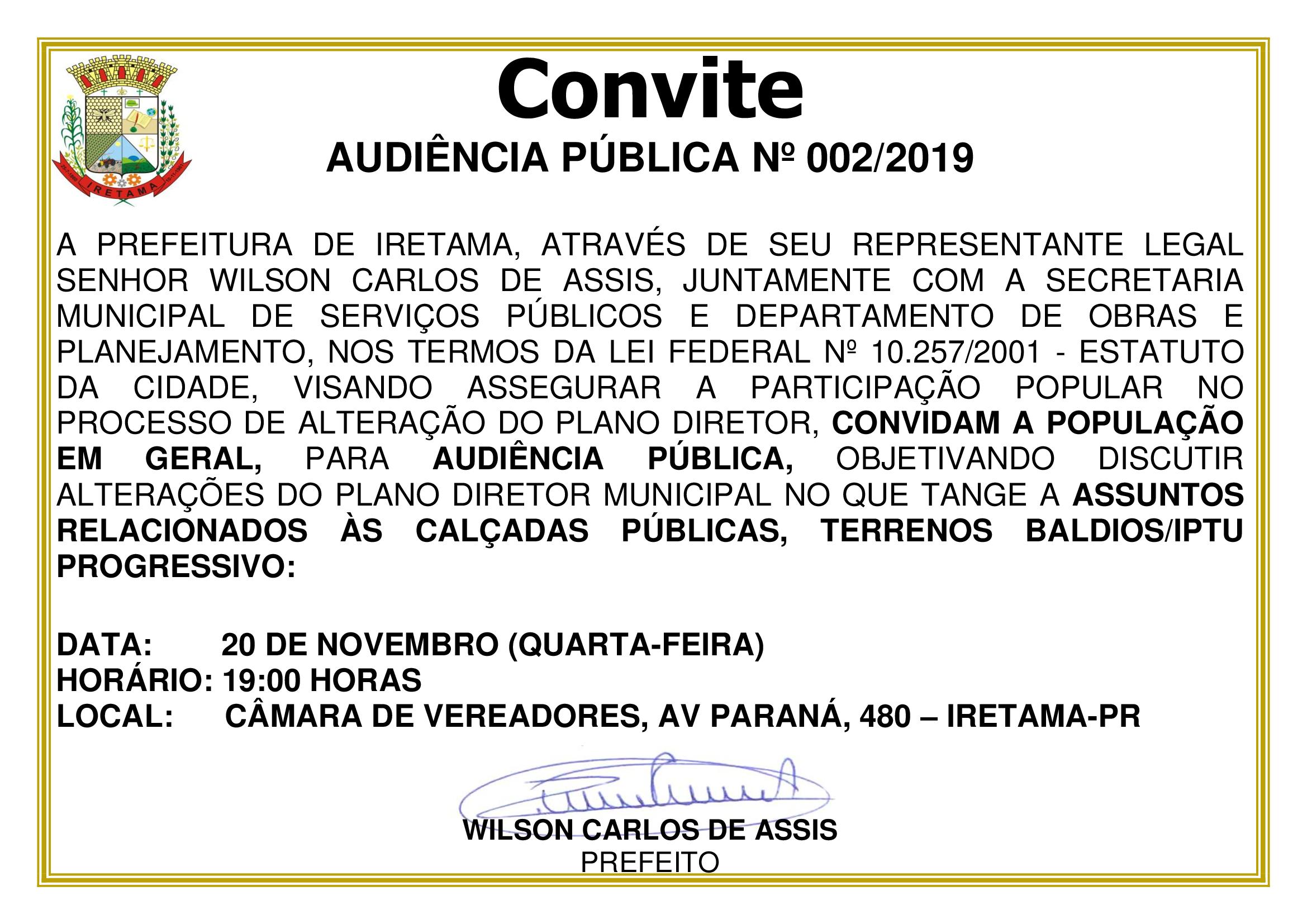 AUDIÊNCIA PÚBLICA Nº 002/2019