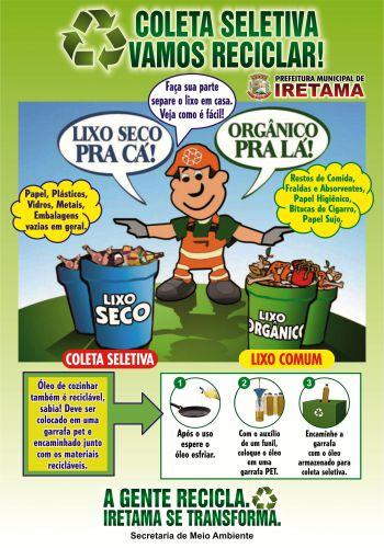 """Novo """"Calendário de coleta seletiva no município de Iretama"""""""