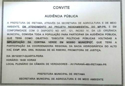 AUDIÊNCIA PUBLÍCA - CORTINA VERDE
