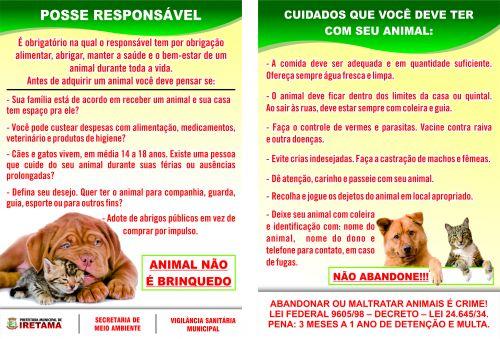 """Campanha """"posse responsável de animais"""""""