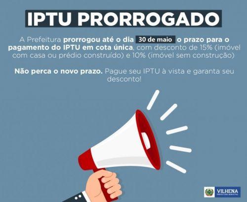 Prefeitura prorroga para 30 de maio prazo de pagamento do IPTU 2020; carnê será apenas online