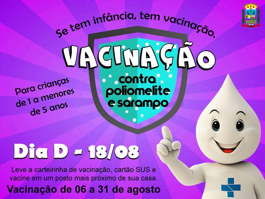 Neste sábado, vacinação contra sarampo e polio