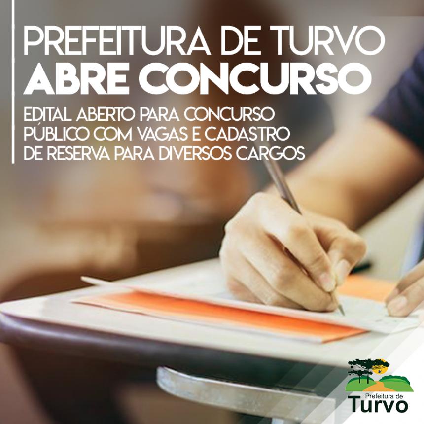 Prefeitura de Turvo lança concurso público