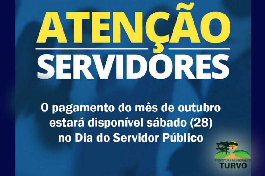 Pagamento dos servidores será no Dia do Servidor
