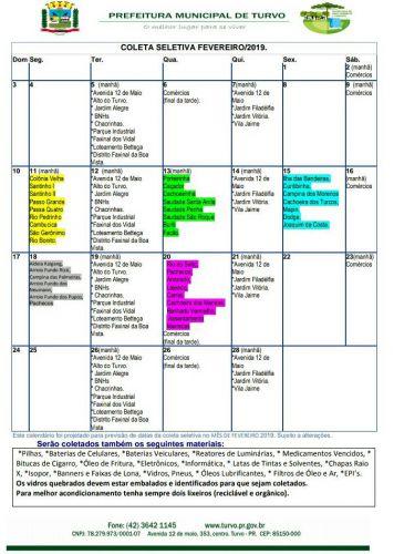 Calendário da coleta seletiva em fevereiro