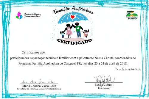 Certificado de Capacitação do projeto