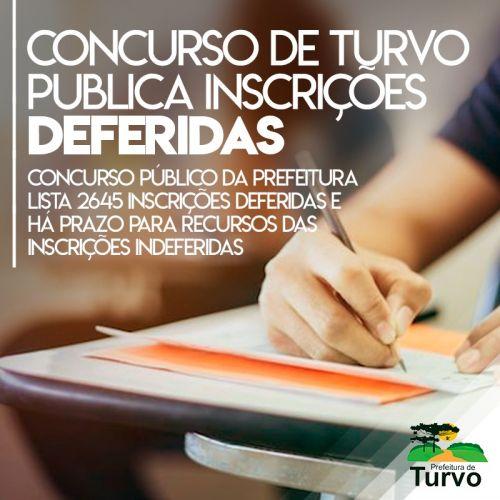 Concurso da Prefeitura de Turvo tem 2.645 inscrições deferidas